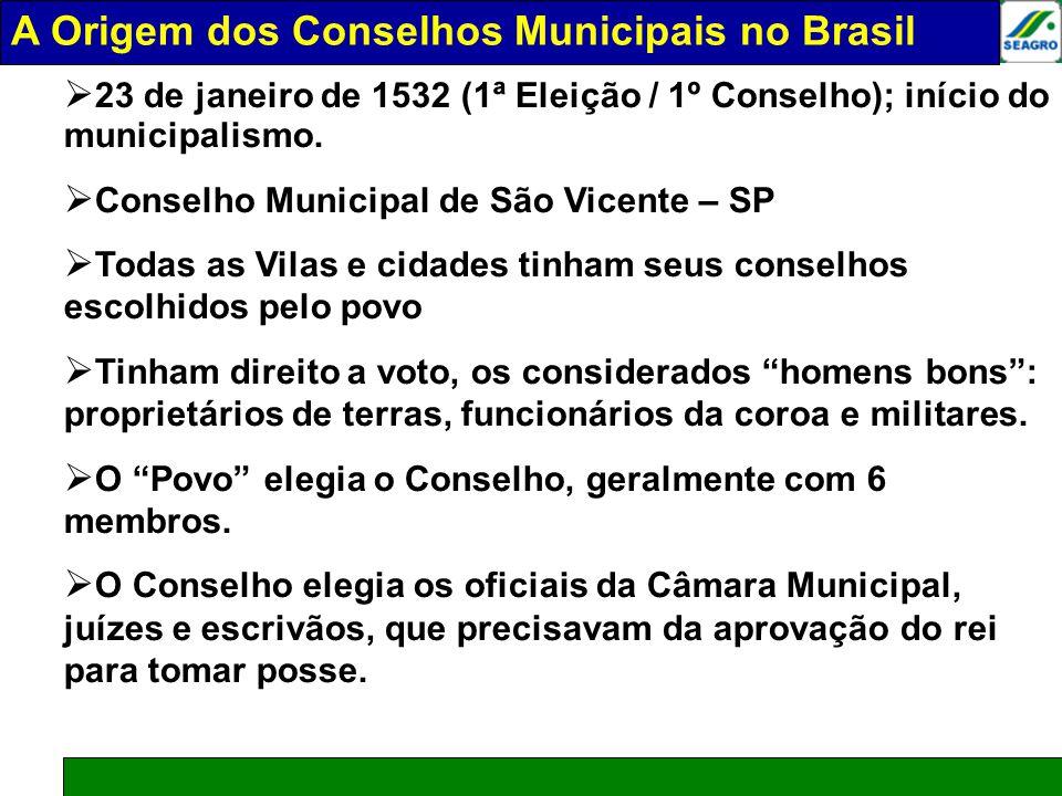 A ORIGEM DOS COSELHOS MUNICIPAIS NO BRASIL 23 de janeiro de 1532 (1ª Eleição / 1º Conselho); início do municipalismo. Conselho Municipal de São Vicent