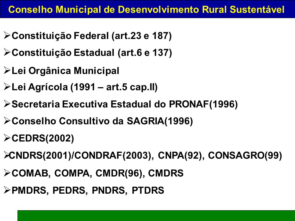 O CONSELHO NACIONAL DE DESENVOLVIMENTO RURAL SUSTENTÁVEL – CONDRAF CONDRAF AF Conselho Nacional Desenvolvimento RuralReforma Agrária AgriculturaFamiliar Júlio César de Moraes