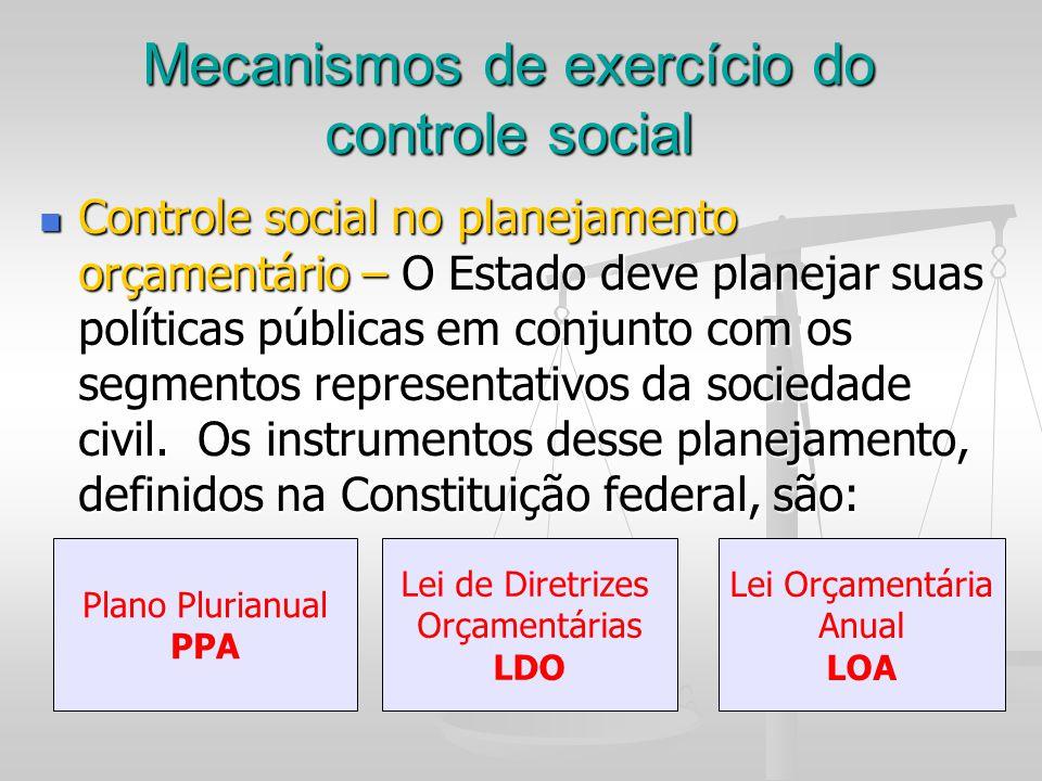 Mecanismos de exercício do controle social Controle social no planejamento orçamentário – O Estado deve planejar suas políticas públicas em conjunto c