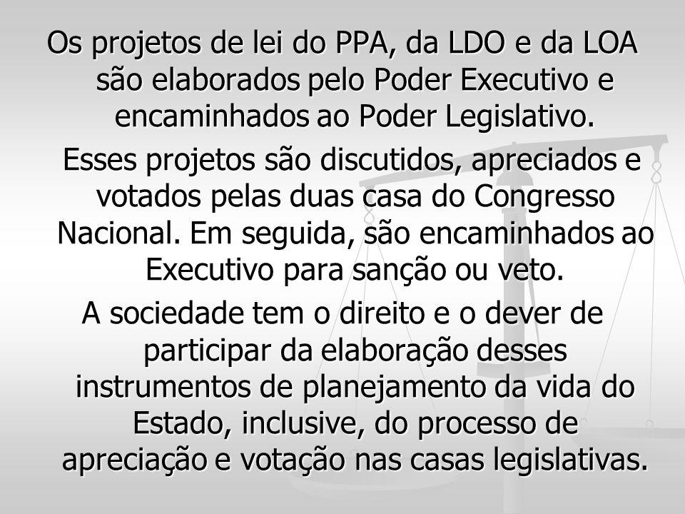 Os projetos de lei do PPA, da LDO e da LOA são elaborados pelo Poder Executivo e encaminhados ao Poder Legislativo. Esses projetos são discutidos, apr