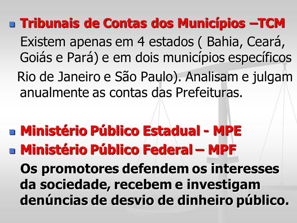Tribunais de Contas dos Municípios –TCM Tribunais de Contas dos Municípios –TCM Existem apenas em 4 estados ( Bahia, Ceará, Goiás e Pará) e em dois mu