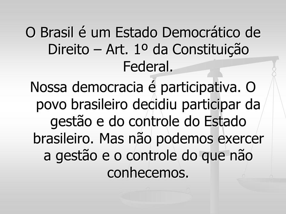 O Brasil é um Estado Democrático de Direito – Art. 1º da Constituição Federal. Nossa democracia é participativa. O povo brasileiro decidiu participar