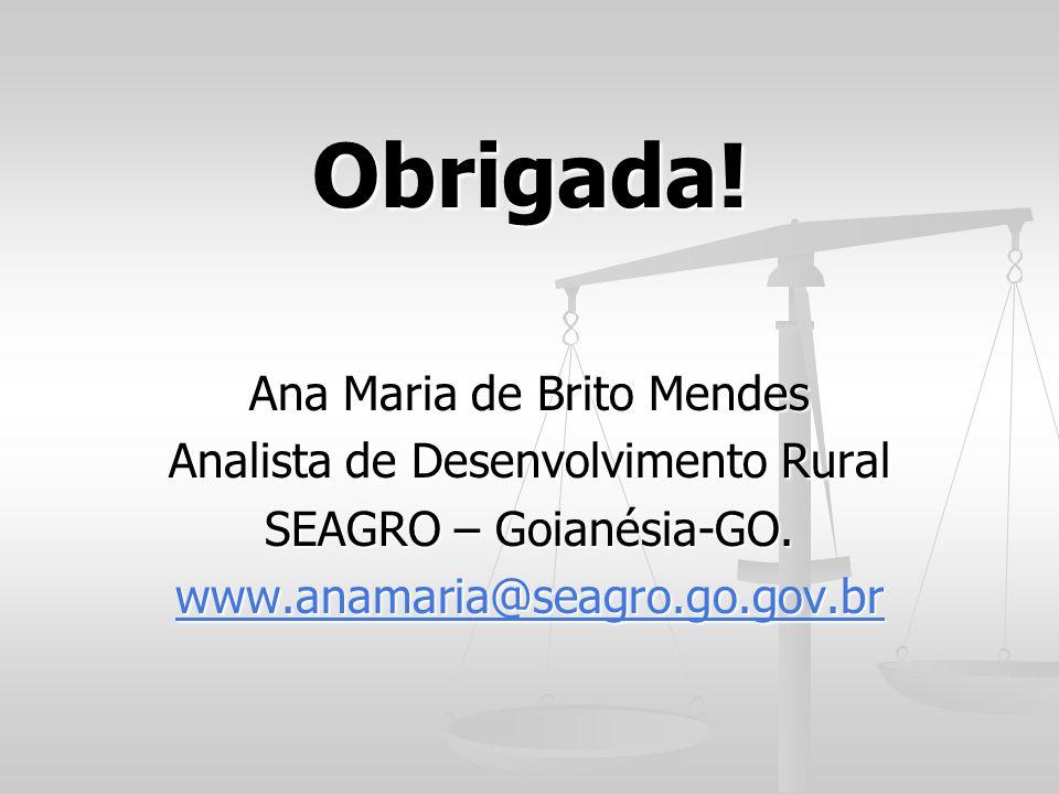 Obrigada! Ana Maria de Brito Mendes Analista de Desenvolvimento Rural SEAGRO – Goianésia-GO. www.anamaria@seagro.go.gov.br