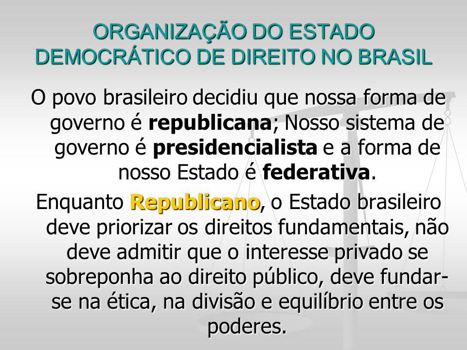 ORGANIZAÇÃO DO ESTADO DEMOCRÁTICO DE DIREITO NO BRASIL O povo brasileiro decidiu que nossa forma de governo é republicana; Nosso sistema de governo é