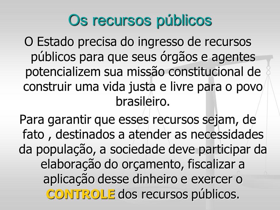 Os recursos públicos O Estado precisa do ingresso de recursos públicos para que seus órgãos e agentes potencializem sua missão constitucional de const