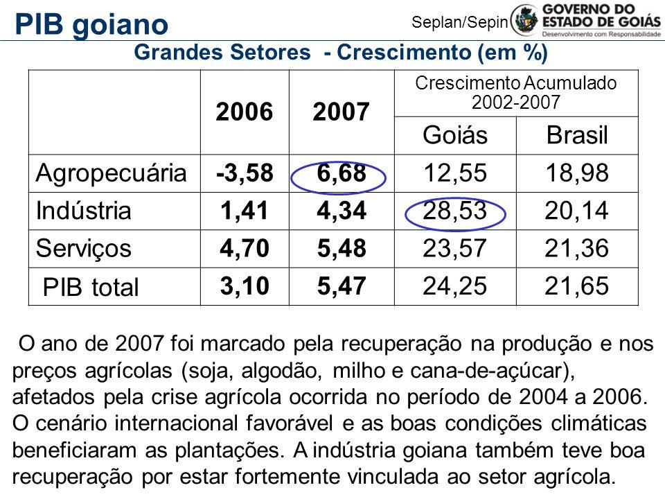 Seplan/Sepin 20062007 Crescimento Acumulado 2002-2007 GoiásBrasil Agropecuária-3,586,6812,5518,98 Indústria1,414,3428,5320,14 Serviços4,705,4823,5721,