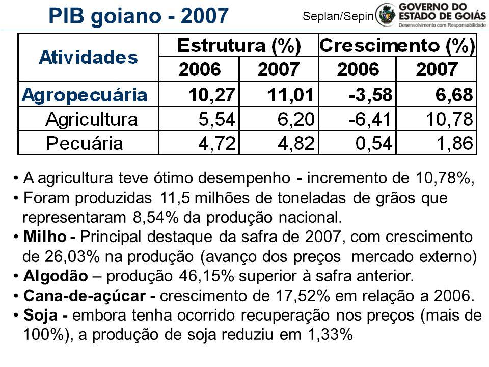 Seplan/Sepin PIB goiano - 2007 A agricultura teve ótimo desempenho - incremento de 10,78%, Foram produzidas 11,5 milhões de toneladas de grãos que rep
