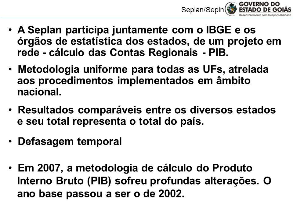 Seplan/Sepin A Seplan participa juntamente com o IBGE e os órgãos de estatística dos estados, de um projeto em rede - cálculo das Contas Regionais - P