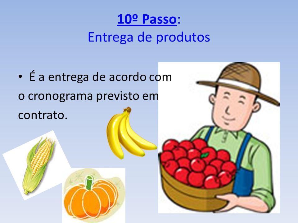 10º Passo: Entrega de produtos É a entrega de acordo com o cronograma previsto em contrato.