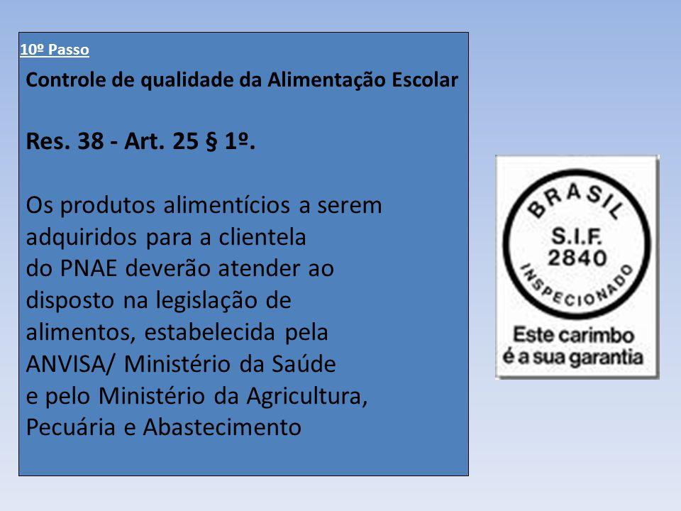 Controle de qualidade da Alimentação Escolar Res. 38 - Art. 25 § 1º. Os produtos alimentícios a serem adquiridos para a clientela do PNAE deverão aten