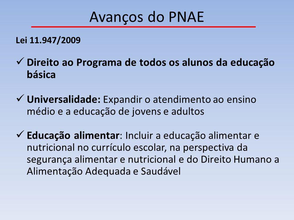 Avanços do PNAE Lei 11.947/2009 Direito ao Programa de todos os alunos da educação básica Universalidade: Expandir o atendimento ao ensino médio e a e