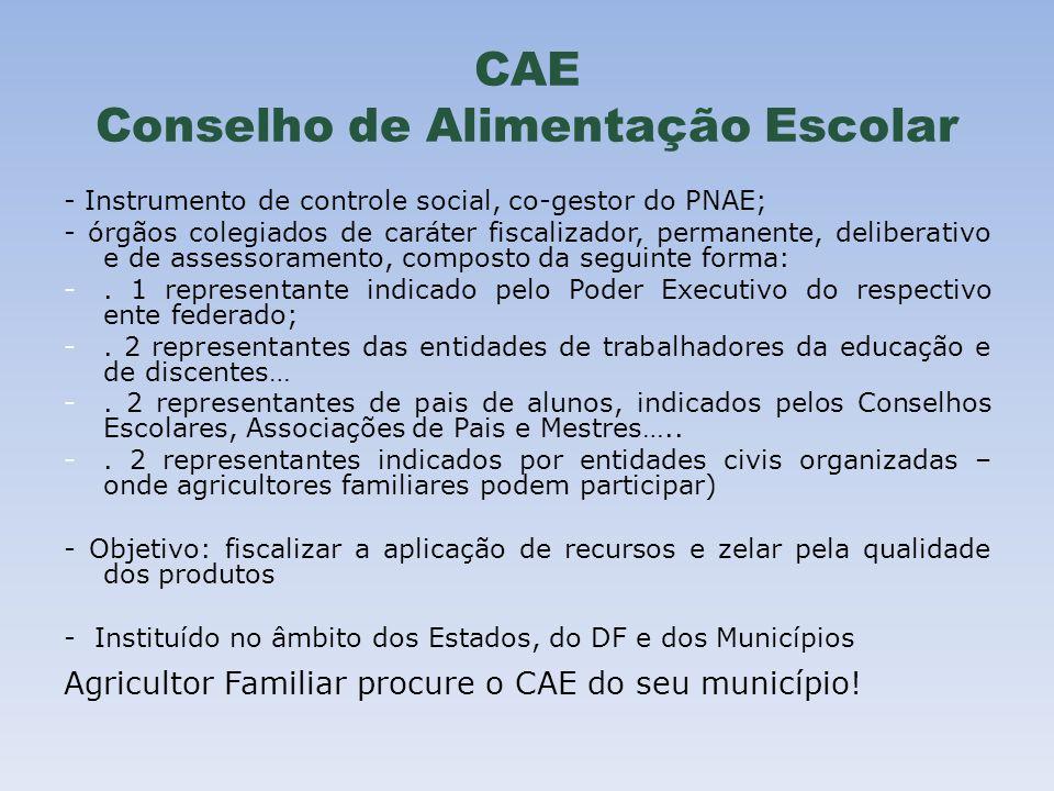 CAE Conselho de Alimentação Escolar - Instrumento de controle social, co-gestor do PNAE; - órgãos colegiados de caráter fiscalizador, permanente, deli
