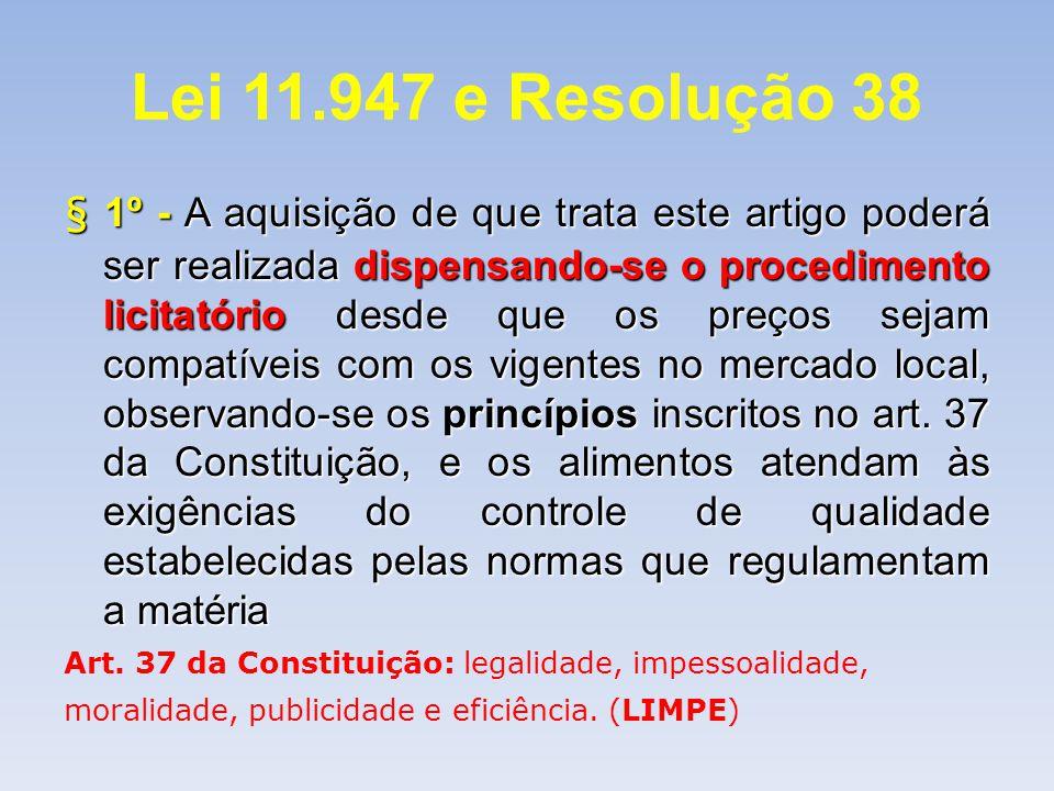 Lei 11.947 e Resolução 38 § 1º - A aquisição de que trata este artigo poderá ser realizada dispensando-se o procedimento licitatório desde que os preç