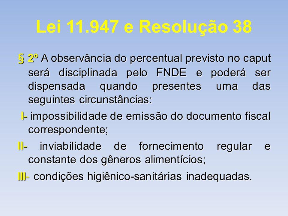 Lei 11.947 e Resolução 38 § 2º A observância do percentual previsto no caput será disciplinada pelo FNDE e poderá ser dispensada quando presentes uma