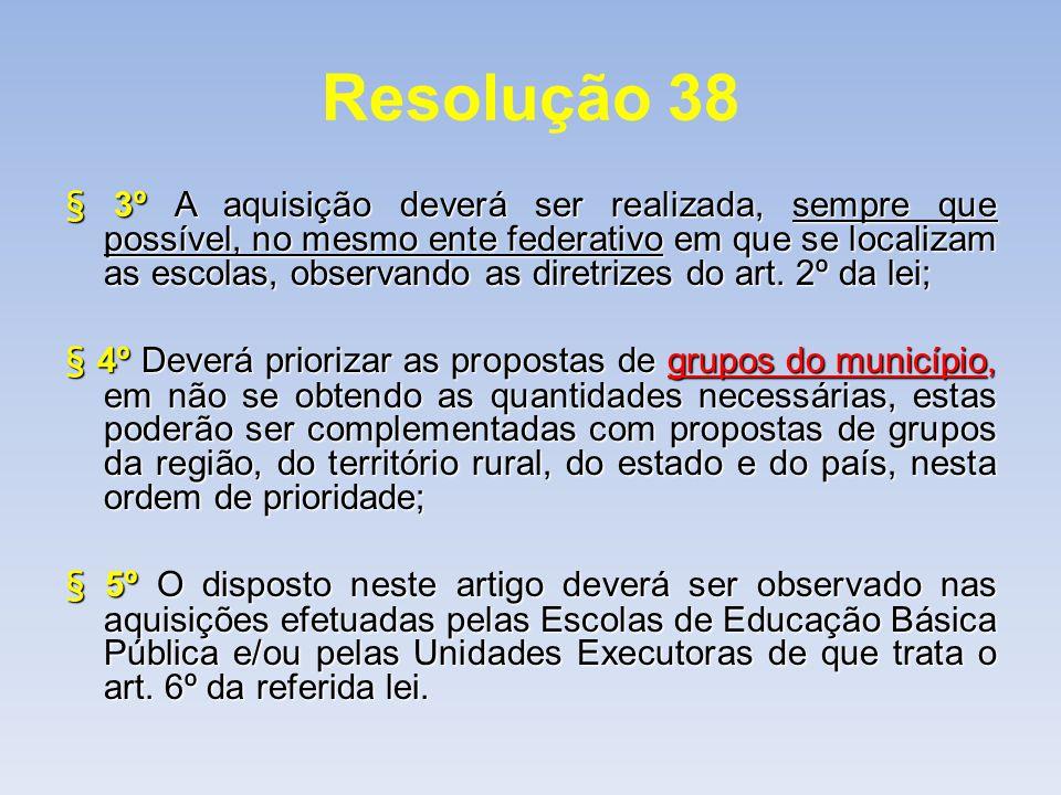 Resolução 38 § 3º A aquisição deverá ser realizada, sempre que possível, no mesmo ente federativo em que se localizam as escolas, observando as diretr