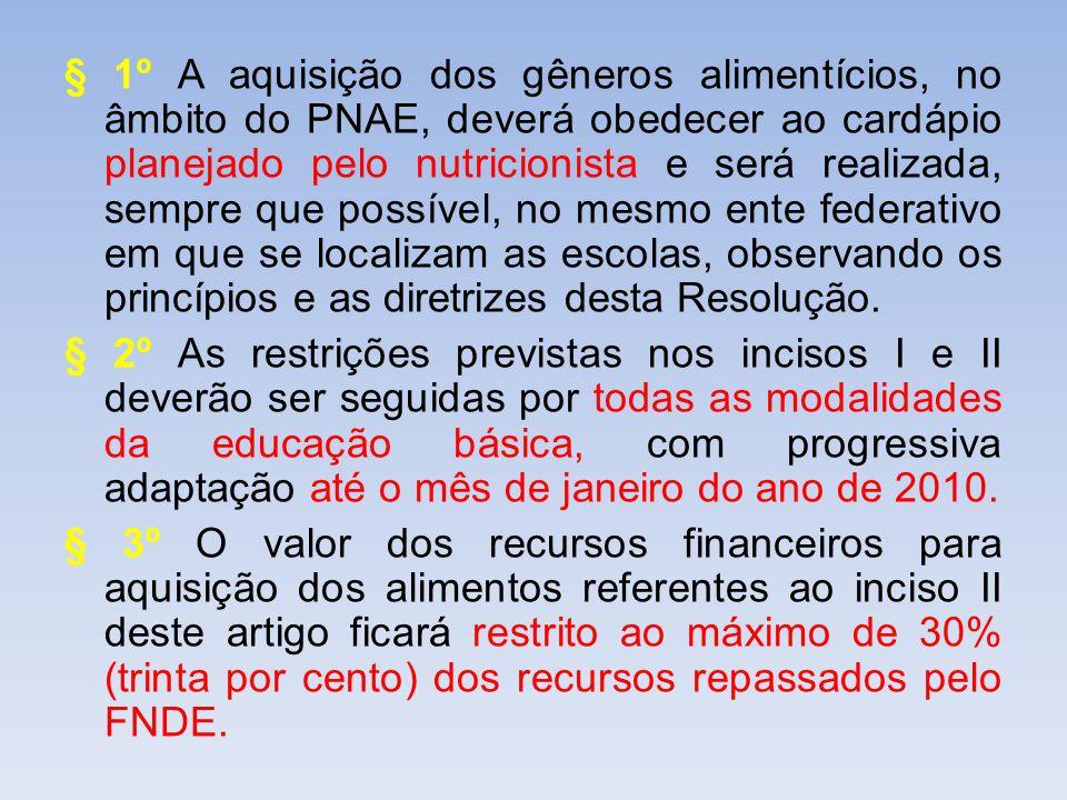 § 1º A aquisição dos gêneros alimentícios, no âmbito do PNAE, deverá obedecer ao cardápio planejado pelo nutricionista e será realizada, sempre que po