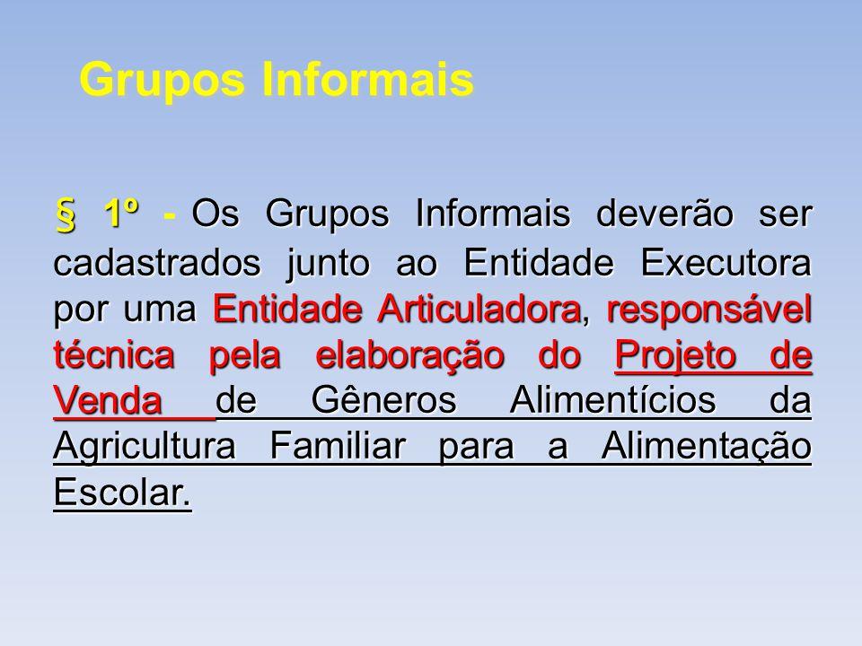Grupos Informais § 1ºOs Grupos Informais deverão ser cadastrados junto ao Entidade Executora por uma Entidade Articuladora, responsável técnica pela e
