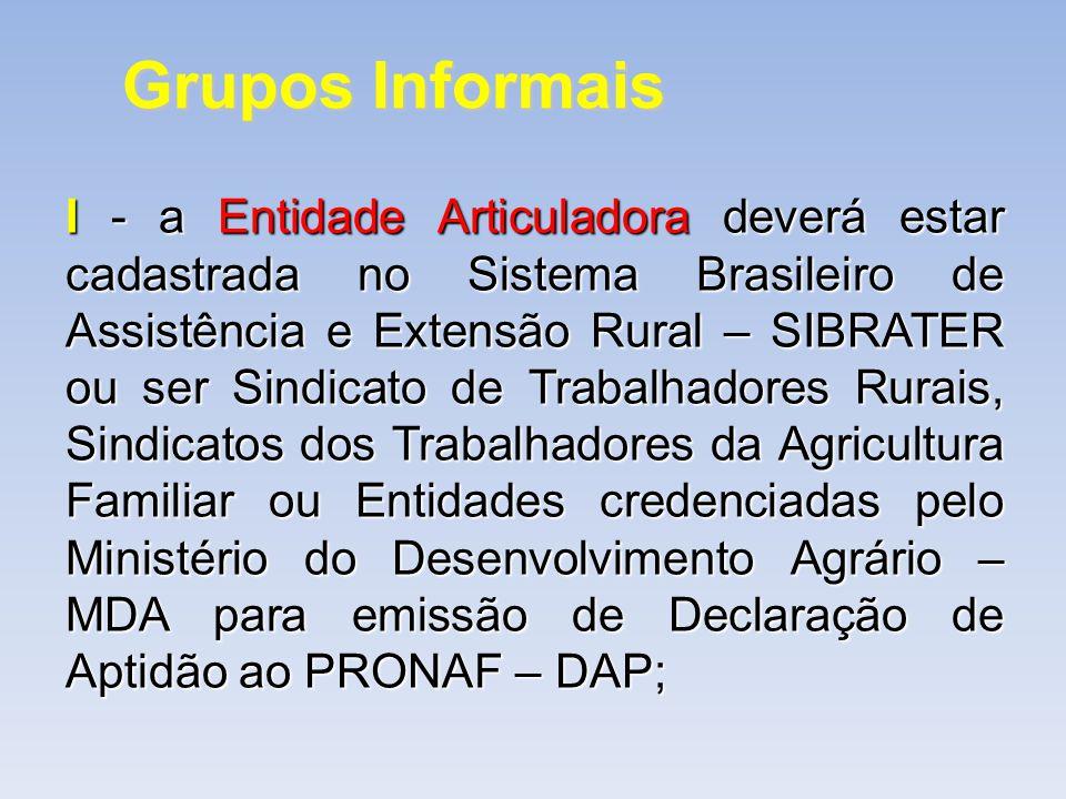 Grupos Informais I- a Entidade Articuladora deverá estar cadastrada no Sistema Brasileiro de Assistência e Extensão Rural – SIBRATER ou ser Sindicato