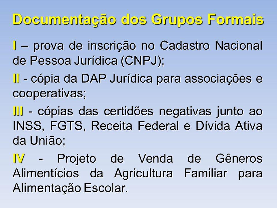 Documentação dos Grupos Formais I – prova de inscrição no Cadastro Nacional de Pessoa Jurídica (CNPJ); II - cópia da DAP Jurídica para associações e c