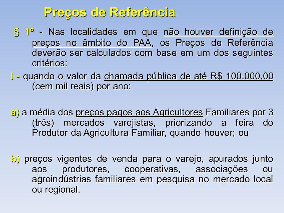 Preços de Referência § 1º - Nas localidades em que não houver definição de preços no âmbito do PAA, os Preços de Referência deverão ser calculados com