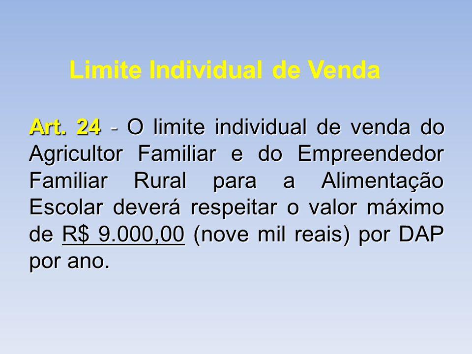 Limite Individual de Venda Art. 24 - O limite individual de venda do Agricultor Familiar e do Empreendedor Familiar Rural para a Alimentação Escolar d