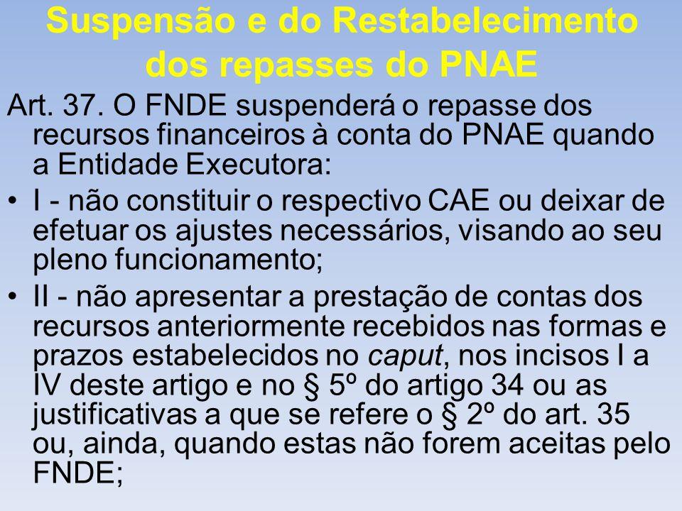 Suspensão e do Restabelecimento dos repasses do PNAE Art. 37. O FNDE suspenderá o repasse dos recursos financeiros à conta do PNAE quando a Entidade E