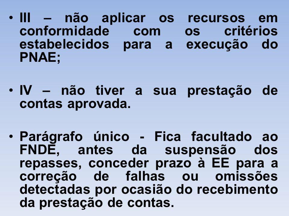 III – não aplicar os recursos em conformidade com os critérios estabelecidos para a execução do PNAE; IV – não tiver a sua prestação de contas aprovad