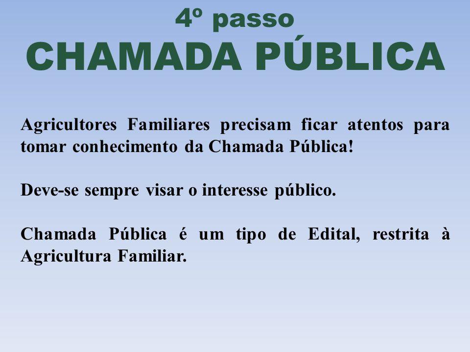 4º passo CHAMADA PÚBLICA Agricultores Familiares precisam ficar atentos para tomar conhecimento da Chamada Pública! Deve-se sempre visar o interesse p