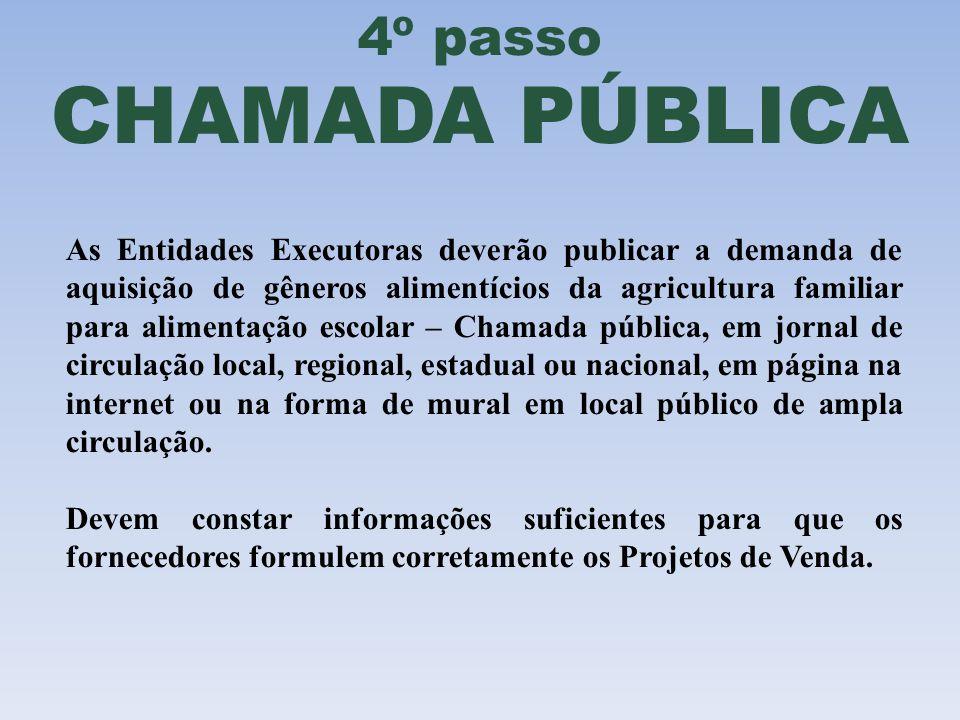 4º passo CHAMADA PÚBLICA As Entidades Executoras deverão publicar a demanda de aquisição de gêneros alimentícios da agricultura familiar para alimenta