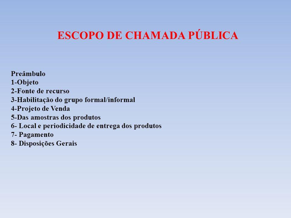 ESCOPO DE CHAMADA PÚBLICA Preâmbulo 1-Objeto 2-Fonte de recurso 3-Habilitação do grupo formal/informal 4-Projeto de Venda 5-Das amostras dos produtos