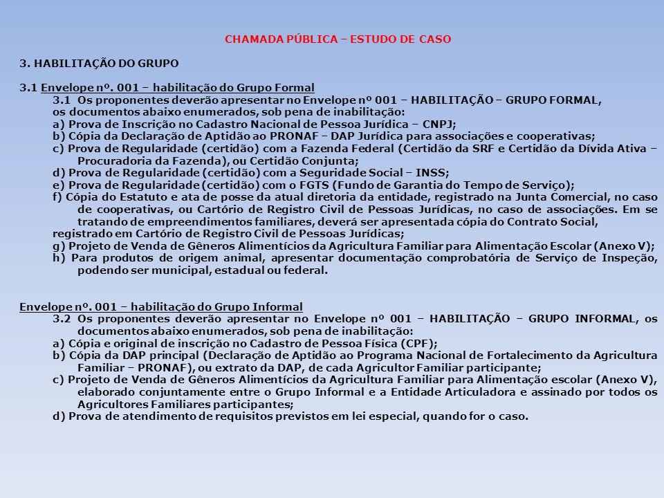 CHAMADA PÚBLICA – ESTUDO DE CASO 3. HABILITAÇÃO DO GRUPO 3.1 Envelope nº. 001 – habilitação do Grupo Formal 3.1Os proponentes deverão apresentar no En