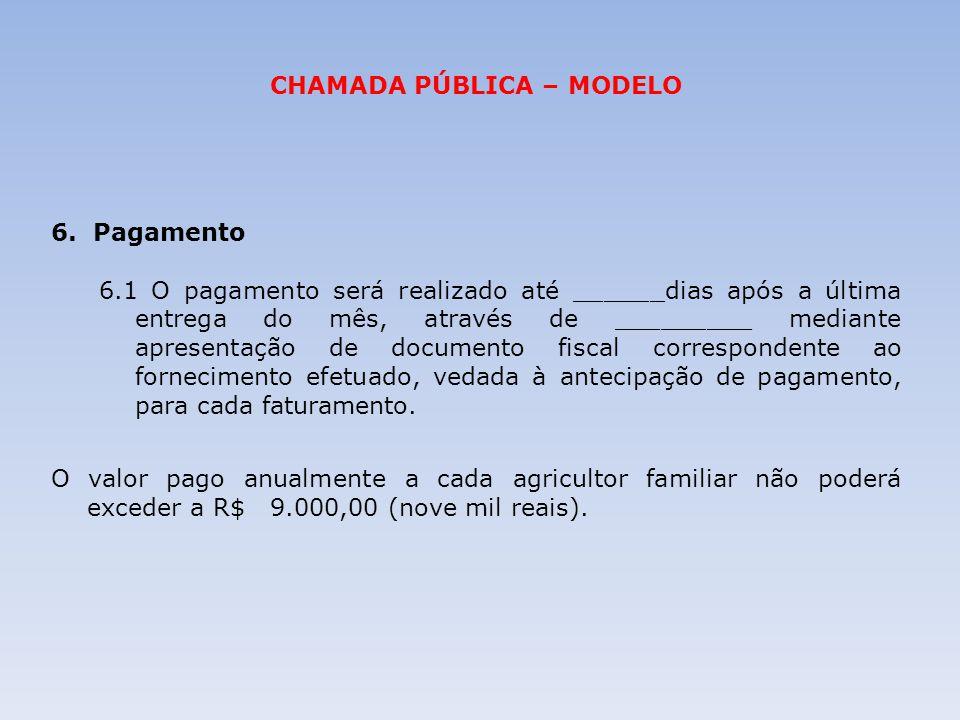 CHAMADA PÚBLICA – MODELO 6. Pagamento 6.1 O pagamento será realizado até ______dias após a última entrega do mês, através de _________ mediante aprese