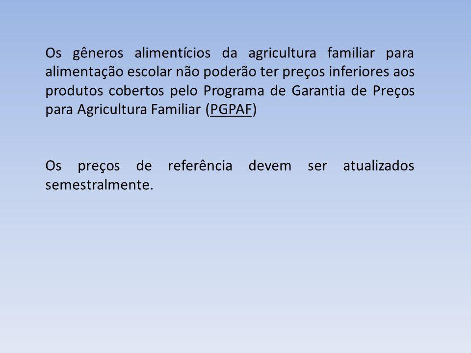 Os gêneros alimentícios da agricultura familiar para alimentação escolar não poderão ter preços inferiores aos produtos cobertos pelo Programa de Gara