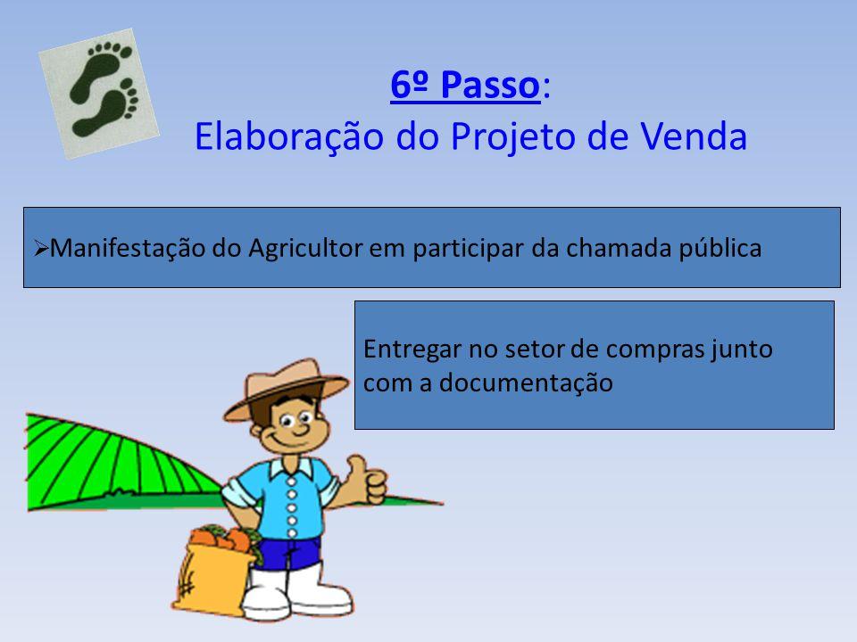 6º Passo: Elaboração do Projeto de Venda Manifestação do Agricultor em participar da chamada pública Entregar no setor de compras junto com a document