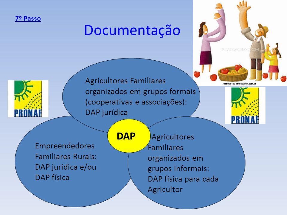 Documentação Empreendedores Familiares Rurais: DAP jurídica e/ou DAP física Agricultores Familiares organizados em grupos formais (cooperativas e asso