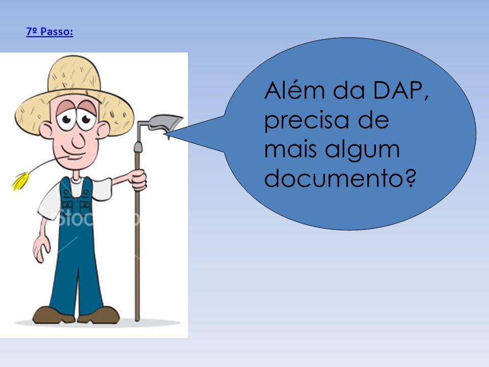 Além da DAP, precisa de mais algum documento? 7º Passo: