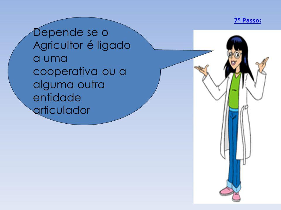 Depende se o Agricultor é ligado a uma cooperativa ou a alguma outra entidade articulador 7º Passo: