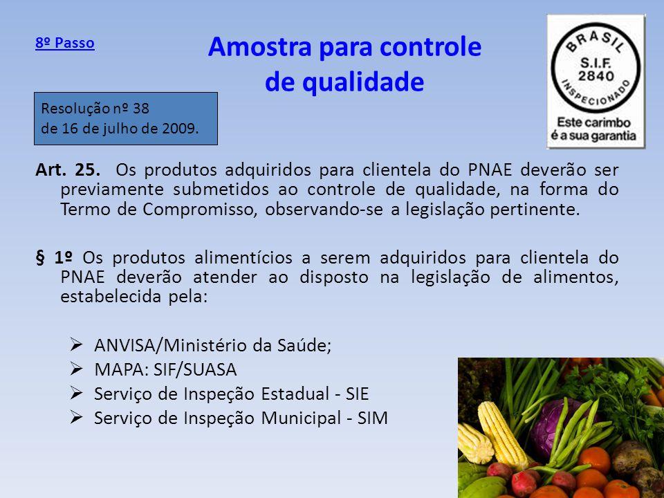 Amostra para controle de qualidade Art. 25. Os produtos adquiridos para clientela do PNAE deverão ser previamente submetidos ao controle de qualidade,