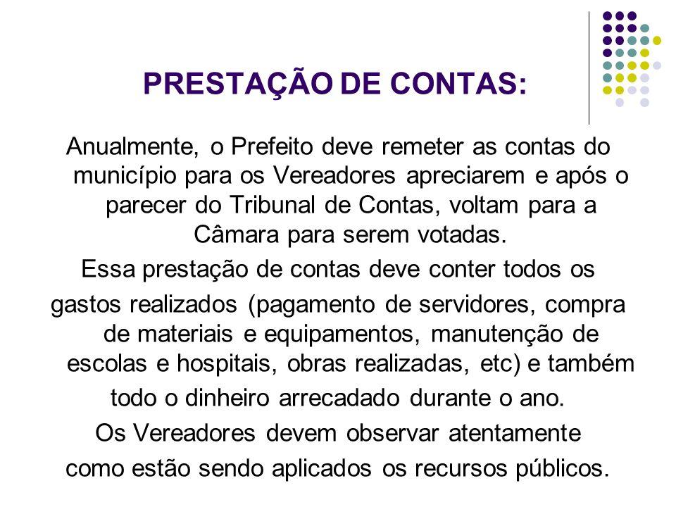 PRESTAÇÃO DE CONTAS: Anualmente, o Prefeito deve remeter as contas do município para os Vereadores apreciarem e após o parecer do Tribunal de Contas,
