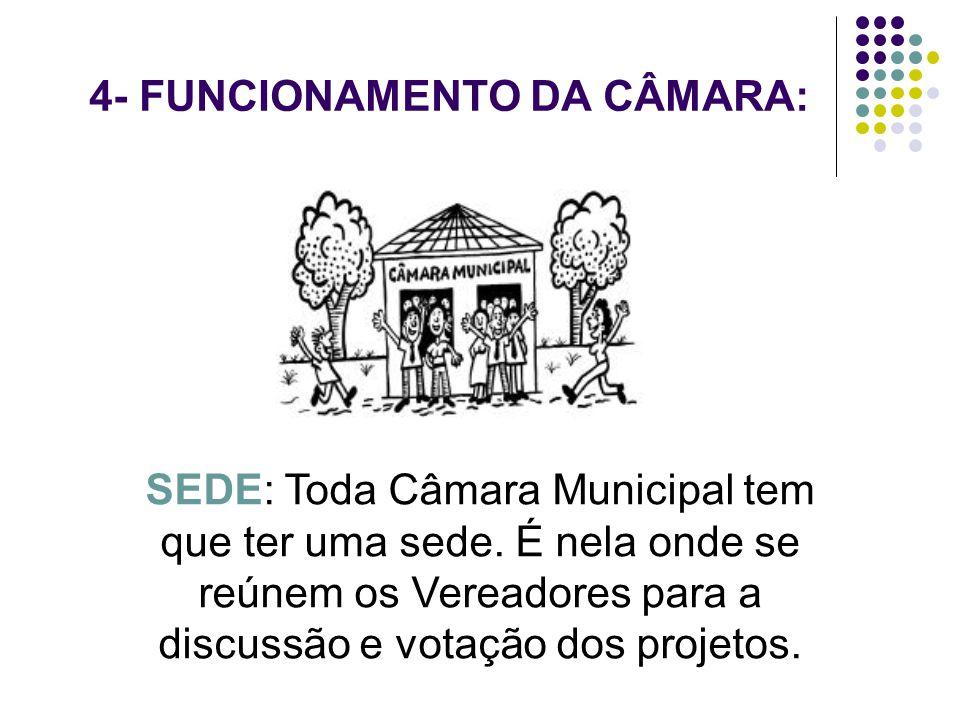 4- FUNCIONAMENTO DA CÂMARA: SEDE: Toda Câmara Municipal tem que ter uma sede. É nela onde se reúnem os Vereadores para a discussão e votação dos proje