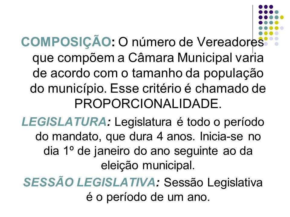 COMPOSIÇÃO: O número de Vereadores que compõem a Câmara Municipal varia de acordo com o tamanho da população do município. Esse critério é chamado de