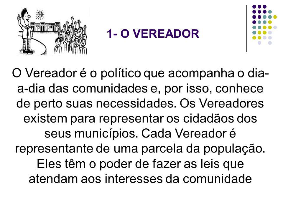 1- O VEREADOR O Vereador é o político que acompanha o dia- a-dia das comunidades e, por isso, conhece de perto suas necessidades. Os Vereadores existe