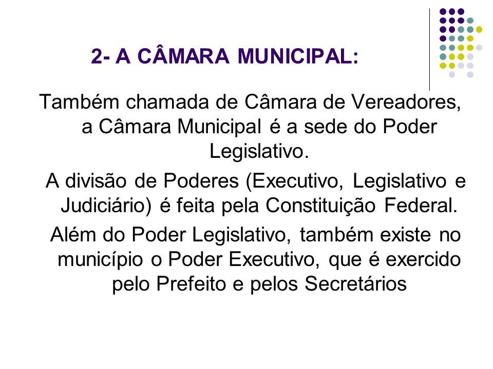 2- A CÂMARA MUNICIPAL: Também chamada de Câmara de Vereadores, a Câmara Municipal é a sede do Poder Legislativo. A divisão de Poderes (Executivo, Legi