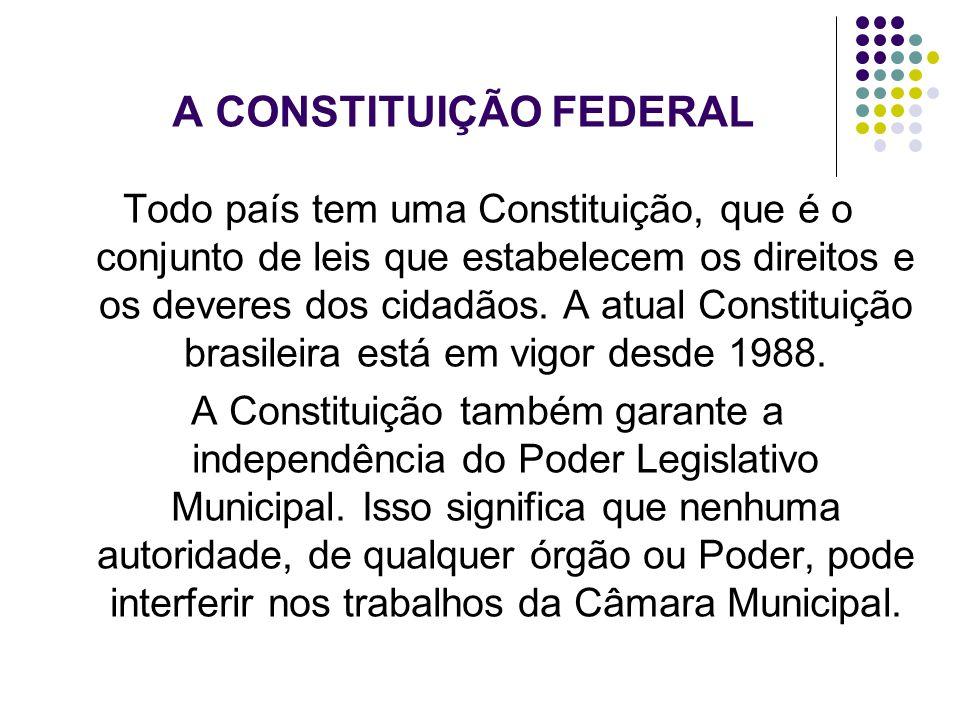 A CONSTITUIÇÃO FEDERAL Todo país tem uma Constituição, que é o conjunto de leis que estabelecem os direitos e os deveres dos cidadãos. A atual Constit