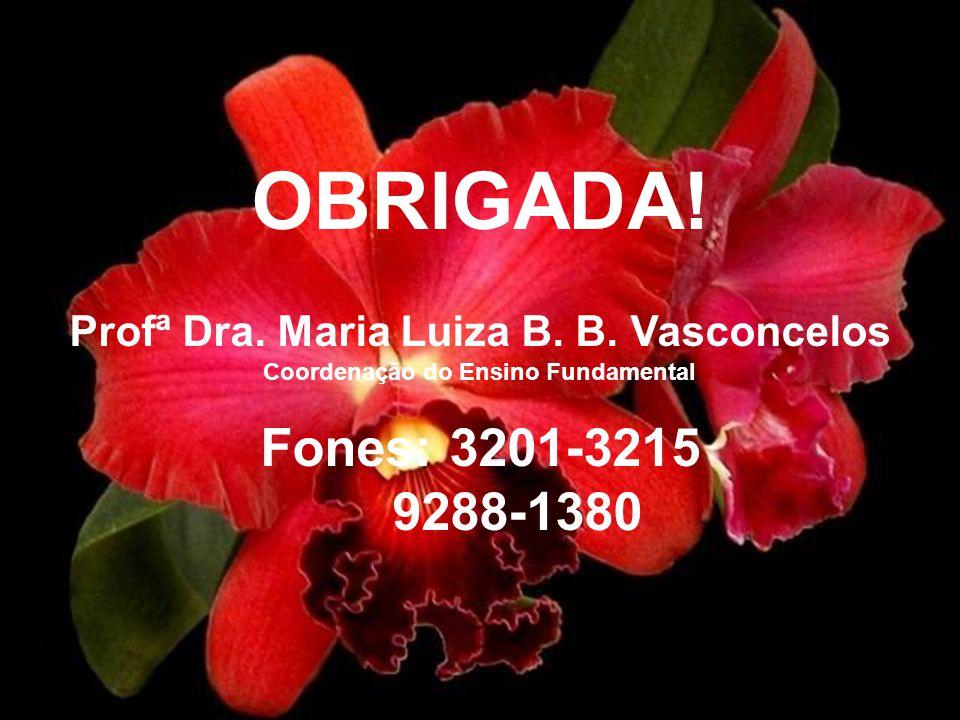 OBRIGADA! Profª Dra. Maria Luiza B. B. Vasconcelos Coordenação do Ensino Fundamental Fones: 3201-3215 9288-1380