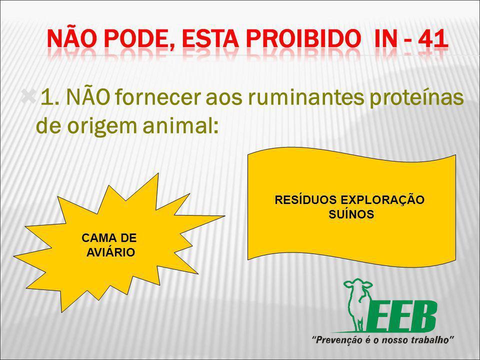 1. NÃO fornecer aos ruminantes proteínas de origem animal: CAMA DE AVIÁRIO RESÍDUOS EXPLORAÇÃO SUÍNOS