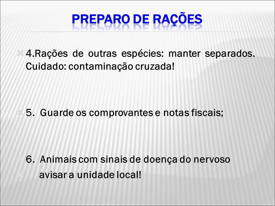 4.Rações de outras espécies: manter separados. Cuidado: contaminação cruzada! 5. Guarde os comprovantes e notas fiscais; 6. Animais com sinais de doen