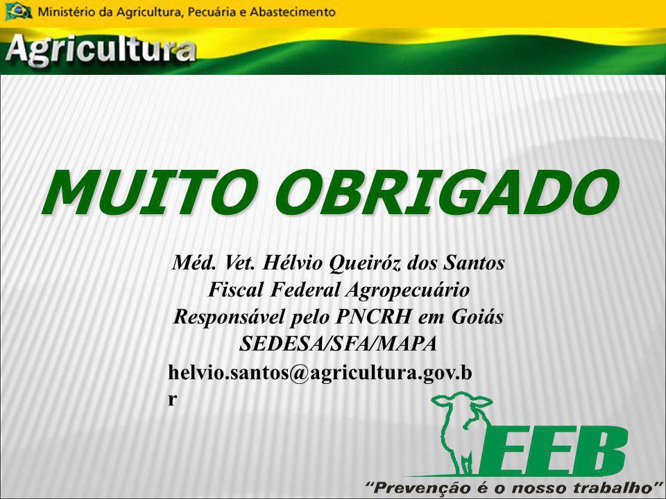 MUITO OBRIGADO Méd. Vet. Hélvio Queiróz dos Santos Fiscal Federal Agropecuário Responsável pelo PNCRH em Goiás SEDESA/SFA/MAPA helvio.santos@agricultu