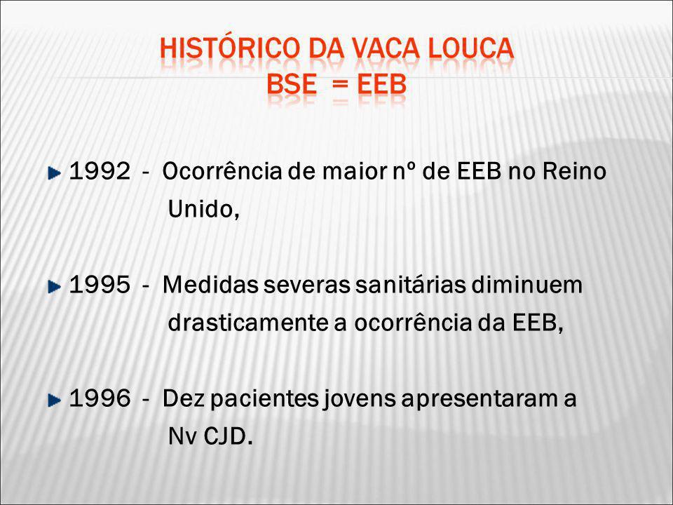 1992 - Ocorrência de maior nº de EEB no Reino Unido, 1995 - Medidas severas sanitárias diminuem drasticamente a ocorrência da EEB, 1996 - Dez paciente