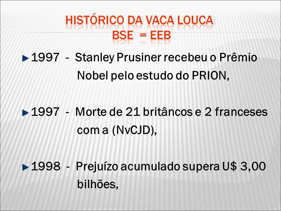 1997 - Stanley Prusiner recebeu o Prêmio Nobel pelo estudo do PRION, 1997 - Morte de 21 britâncos e 2 franceses com a (NvCJD), 1998 - Prejuízo acumula